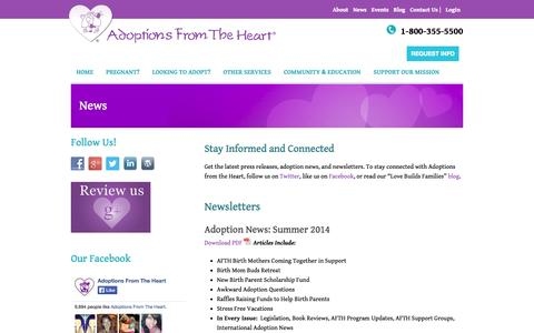 Screenshot of Press Page afth.org - Adoption Agency Glastonbury CT | Pregnant Hartford | News - captured Oct. 4, 2014