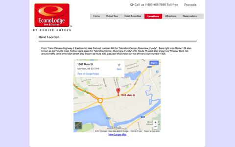 Screenshot of Locations Page econolodgemoncton.com - Econolodge Moncton | Hotel and Suites - Location - captured Oct. 1, 2014