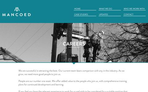 Screenshot of Jobs Page mancoed.co.uk - Man Coed: Careers - captured Nov. 3, 2014