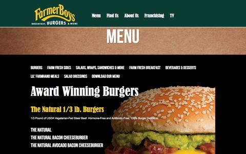 Screenshot of Menu Page farmerboys.com - Farmer Boys - captured Sept. 22, 2014