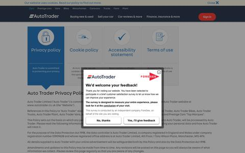 Screenshot of Privacy Page autotrader.co.uk - Privacy policy - Auto Trader UK - captured Sept. 4, 2017