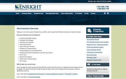 Screenshot of Services Page enrightcorp.com - Enright Court Reporting Services - captured Oct. 3, 2014
