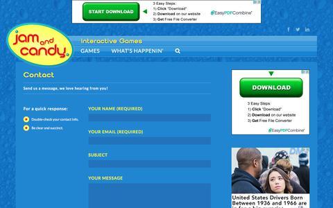 Screenshot of Contact Page jamandcandy.com - Contact - Jam and Candy - captured Nov. 26, 2016