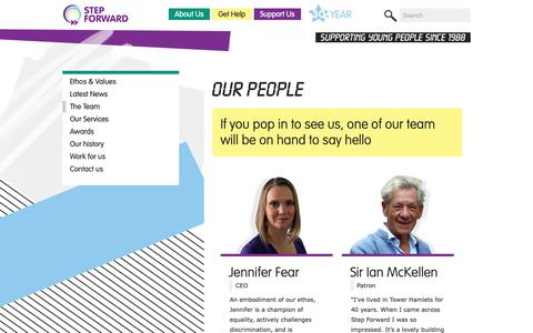 Screenshot of Team Page step-forward.org - The Step Forward Team | Step Forward (Tower Hamlets) | Young People's Charity East London – Free Support Services – Counselling, Wellbeing & Mental Health, LGBTQ - captured Oct. 20, 2018