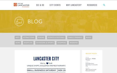 Screenshot of Blog visitlancastercity.com - Blog - Visit Lancaster City - captured Dec. 28, 2016