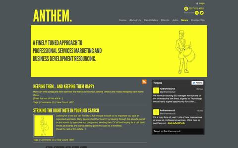 Screenshot of Press Page anthemconsulting.co.uk - Recruitment News - captured Sept. 30, 2014