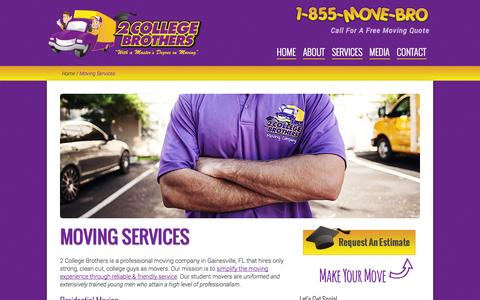 Screenshot of Services Page 2collegebrothers.com - Moving Services | Gainesville, FL | 2 College Brothers - captured Nov. 5, 2014