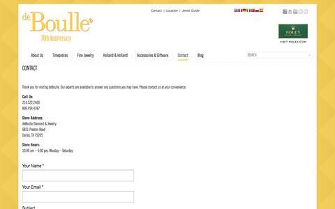 Screenshot of Contact Page deboulle.com - Contact | deBoulledeBoulle - captured Oct. 5, 2014