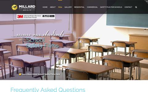 Screenshot of FAQ Page millardwindowfilm.com - FAQs - Millard Enterprises - captured Feb. 17, 2016