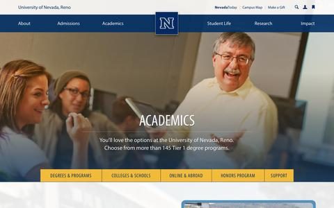 Screenshot of Support Page unr.edu - Academics - captured Sept. 19, 2014