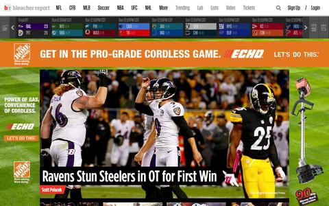 Screenshot of Home Page bleacherreport.com - Bleacher Report | Sports. Highlights. News. Now. - captured Oct. 2, 2015