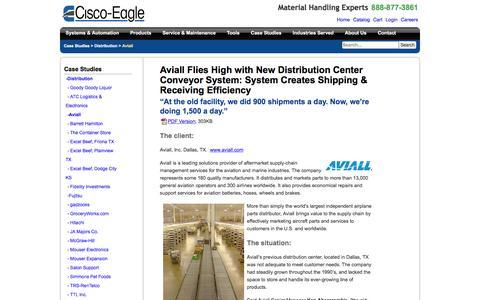 Screenshot of Case Studies Page cisco-eagle.com - Distribution Center Conveyor System - Aviall: - captured Jan. 5, 2017