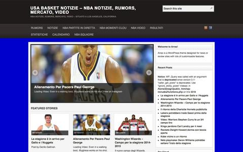 Screenshot of Home Page usabasketnotizie.com - USA BASKET NOTIZIE - NBA Notizie, Rumors, Mercato, Video | Nba Notizie, Rumors, Mercato, Video - Situato a Los Angeles, California - captured Oct. 8, 2014