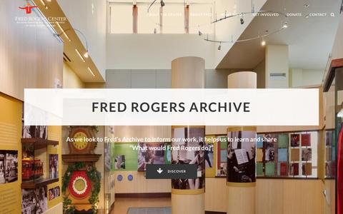 Screenshot of Home Page fredrogerscenter.org - The Fred Rogers Center - captured Oct. 19, 2019