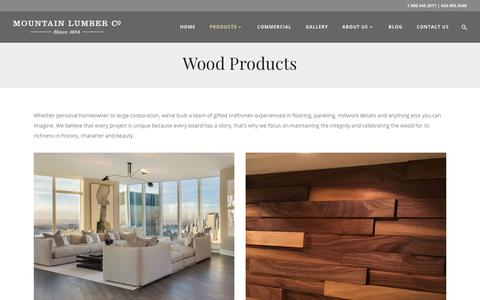 Screenshot of Products Page mountainlumber.com - Wood Products | Mountain Lumber Company - captured Feb. 14, 2018
