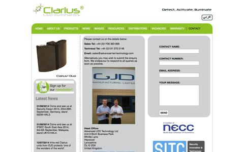 Screenshot of Contact Page advanced-led-technology.com - Contact Us | Advanced LED Technology | Clarius Infrared & White Light Illuminators | CCTV Lighting | Night Vision | CCTV Security & Surveillance Systems | LED Light | White Flood Light - captured Oct. 4, 2014
