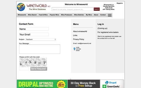 Screenshot of Contact Page Menu Page winesworld.net - Menu - Contact Us| Winesworld - captured March 9, 2016