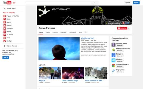 Screenshot of YouTube Page youtube.com - Crown Partners  - YouTube - captured Oct. 27, 2014