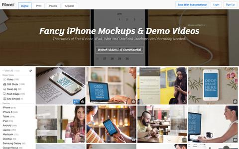 Screenshot of Home Page placeit.net - Free iPhone Mockup Generator & App Demo Videos by Placeit - captured Jan. 5, 2016