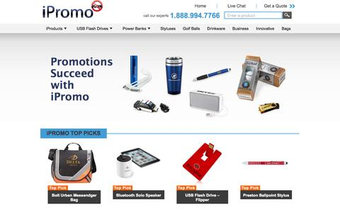 Screenshot of Home Page ipromo.com - Promotional USB Flash Drives - Custom USB and Personalized Flash Drives with your Logo - iPromo.com - captured Oct. 6, 2014