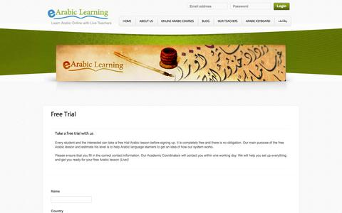 Screenshot of Trial Page earabiclearning.com - Free online Arabic lesson | eArabiclearning - captured Sept. 27, 2014