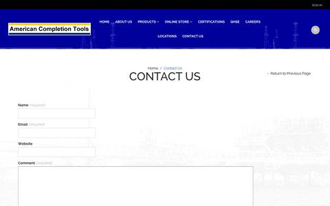 Screenshot of Contact Page americancompletiontools.com - Contact Us | American Completion Tools, Inc - captured Feb. 6, 2016