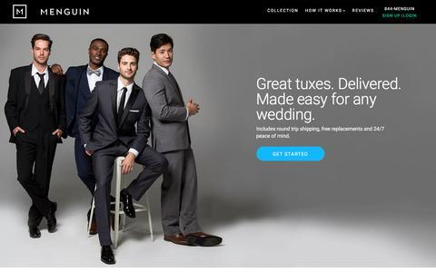 Screenshot of Home Page menguin.com - Designer Wedding Tuxedo Rental Starting At $89 | Menguin - captured May 20, 2017