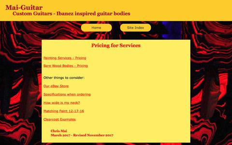 Screenshot of Pricing Page mai-guitar.com - Pricing Mai-Guitar - Ibanez inspired guitar bodies - captured Feb. 23, 2018