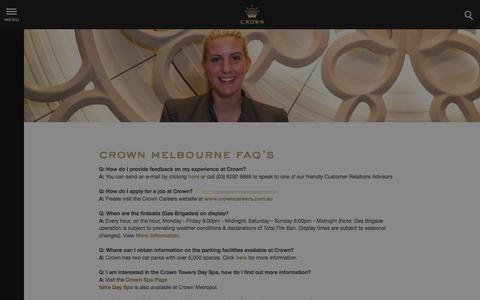 Screenshot of FAQ Page crownmelbourne.com.au - Frequently Asked Questions - Info | Crown Melbourne - captured Nov. 26, 2015