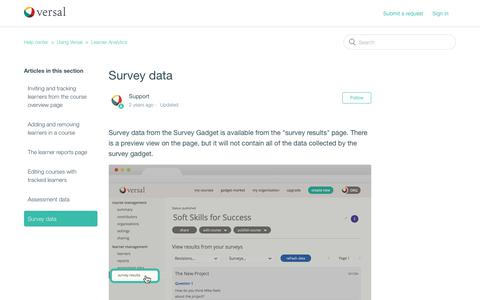 Screenshot of Support Page versal.com - Survey data – Help center - captured Dec. 3, 2019