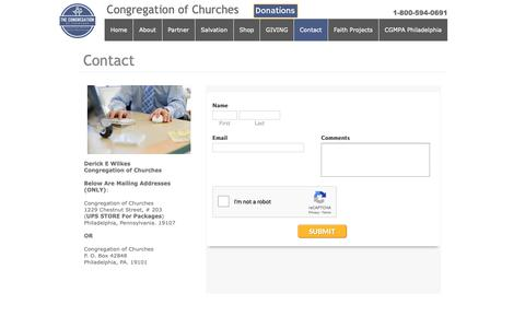 Screenshot of Contact Page congregationofchurches.org - Contact - captured Oct. 21, 2018
