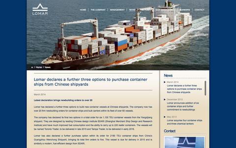 Screenshot of Press Page lomarshipping.com - News | Lomar Shipping - captured Sept. 30, 2014