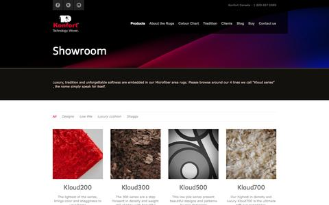 Screenshot of Products Page konfortrugs.com - Showroom   Konfort – Luxury Rugs - captured Oct. 6, 2014