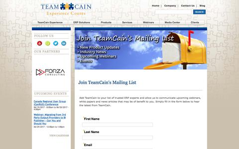 Screenshot of Signup Page teamcain.com - Join TeamCain's Mailing List | TeamCain - captured June 12, 2017