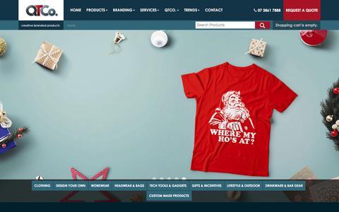 Screenshot of Home Page qtco.com.au - Brisbane Promotional Products   Promo Items & Merchandise - captured Jan. 24, 2016