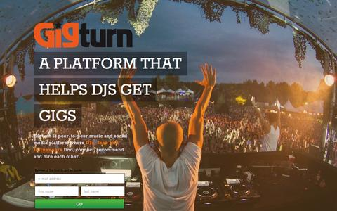 Screenshot of Signup Page gigturn.com - Gigturn - A PLATFORM THAT HELPS DJS GET GIGS - captured Oct. 22, 2014