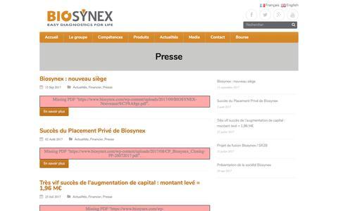 Screenshot of Press Page biosynex.com - Presse – Biosynex SA – Easy Diagnostics for Life ! - captured Oct. 9, 2017