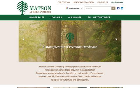 Screenshot of Home Page matsonlumber.com - Matson Lumber Company | Home Page - captured June 24, 2018