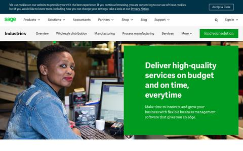 Screenshot of Services Page sage.com - Professional Services Management and Automation Software | Sage South Africa - captured July 17, 2019