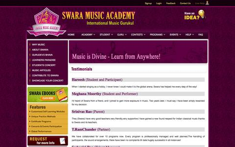 Screenshot of Testimonials Page swaramusicacademy.com - Swara Music Academy - captured Jan. 12, 2016