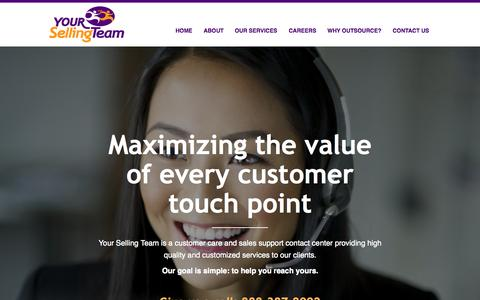 Screenshot of Home Page yoursellingteam.com - Your Selling Team | Flexible, Personalized Call Support - captured Aug. 4, 2015