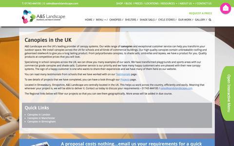 Screenshot of Locations Page aandslandscape.co.uk - Nationwide supplier of canopies in the UK | A&S Landscape - captured Sept. 25, 2018