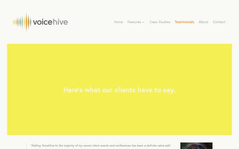 Screenshot of Testimonials Page voicehive.com - Testimonials — VoiceHive - captured Oct. 20, 2018
