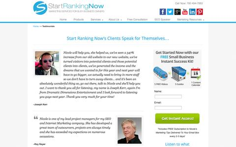 Screenshot of Testimonials Page startrankingnow.com - Testimonials « StartRankingNow | Marketing Services for Busy Business Owners - captured Oct. 7, 2014