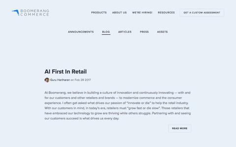 Screenshot of Blog boomerangcommerce.com - Blog — Boomerang Commerce - captured Aug. 25, 2017