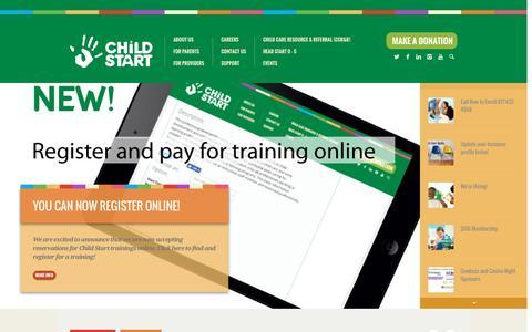 Screenshot of Home Page childstart.org - Home | Child Start - captured July 12, 2016
