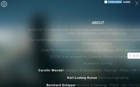 Screenshot of About Page tumblr.com - ScobyTec — About - captured Sept. 11, 2014