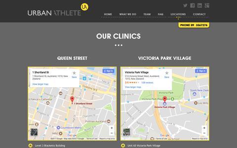Screenshot of Locations Page urbanathlete.co.nz - Auckland Physio Treatment Clinics | Urban Athlete - captured Oct. 20, 2017