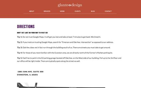 Screenshot of Maps & Directions Page glantz.net - Directions to Glantz Design | Glantz Design - captured March 10, 2018