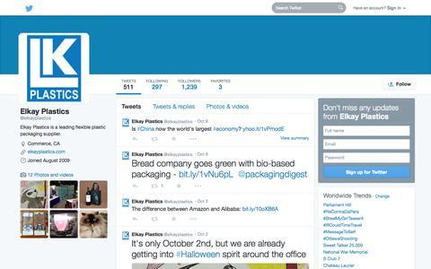 Screenshot of Twitter Page twitter.com - Elkay Plastics (@elkayplastics) | Twitter - captured Oct. 22, 2014